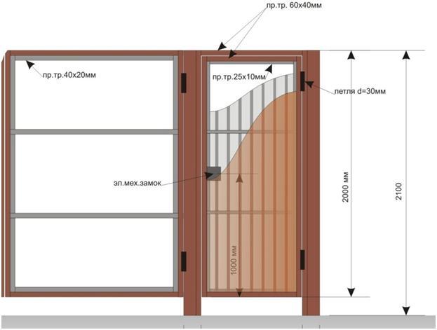 Чертеж двери из профнастила
