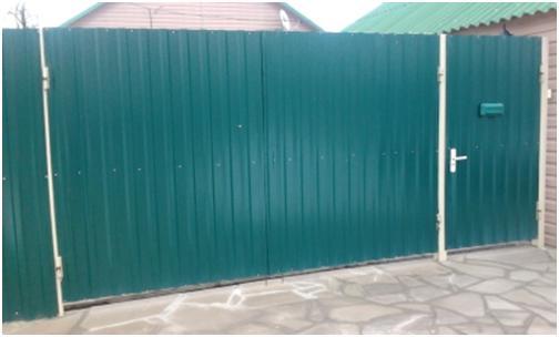 Показать образцы ворот из металопрофиля не сложные распашные ворота