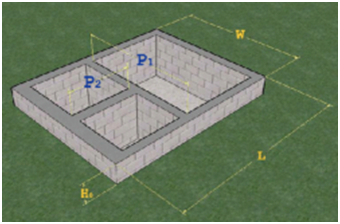 Схема размеров фундамента