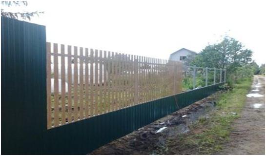Забор профильный и деревянный