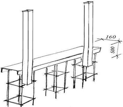 Монтаж столбов и закладной
