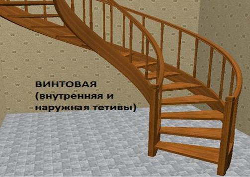 Деревянная спиральная лестница на тетивах