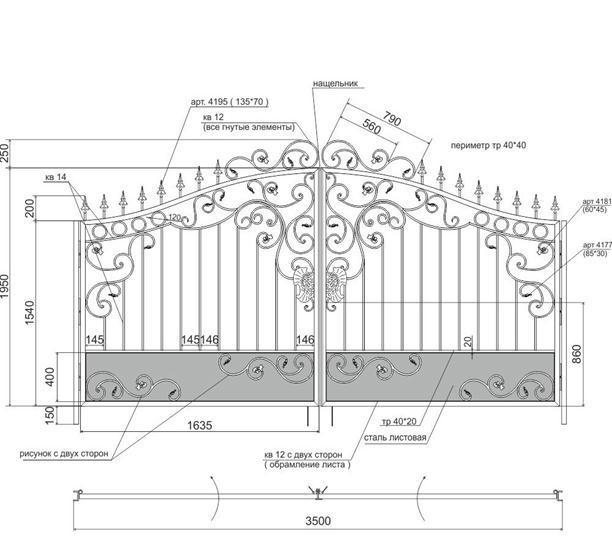 Размеры различных составляющих ворот