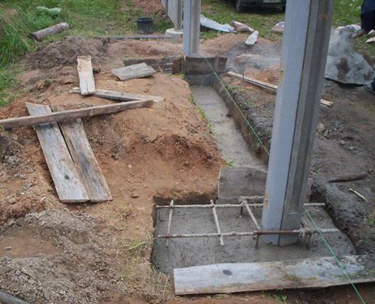 Заполнение углубления бетоном