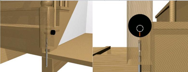 Схема монтажа столбика для лестницы