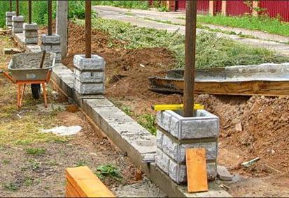 Обшивка сваи бетонными блоками