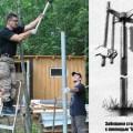Забивание металлического столба