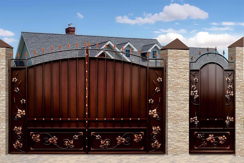 Металлические въездные ворота