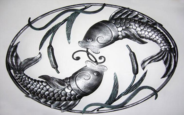 Выкованные камыши и рыбы
