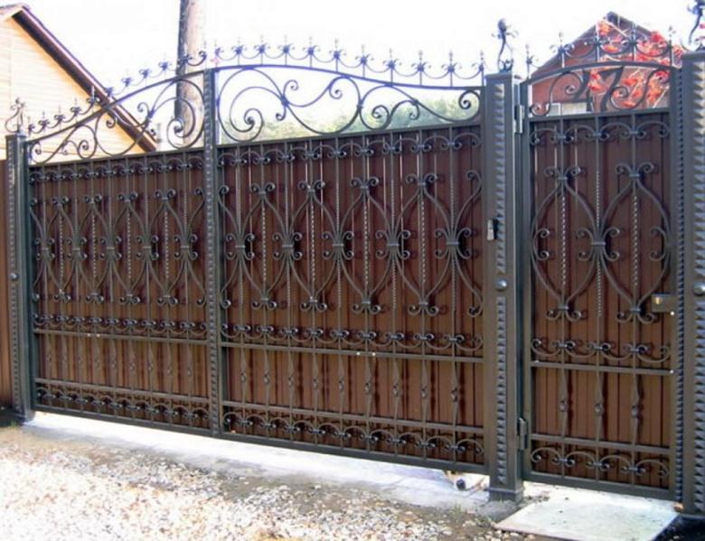 Сплошные ворота с калиткой