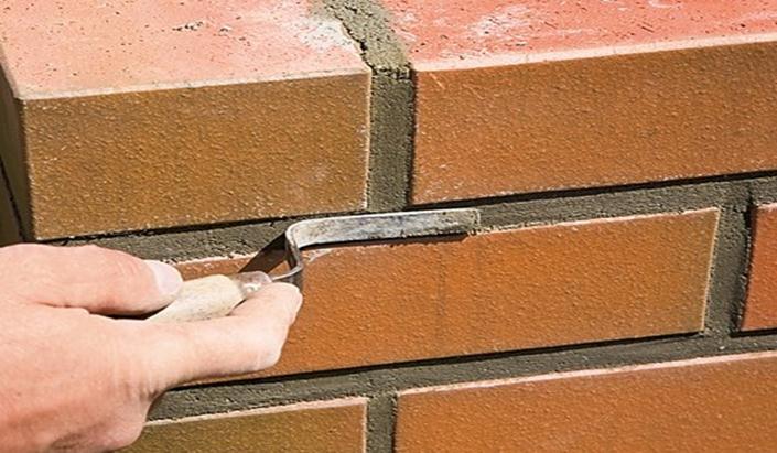 Заполнение швов цементным раствором