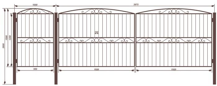 Распашные ворота и с дверцей